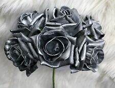 6 Silver Polyfoam Top Quality Roses 5/6cm Head Wedding Flowers Table Decorations