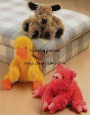 (431) Toy Knitting Pattern for Animals (Dog, Pig, Duck) in DK yarn