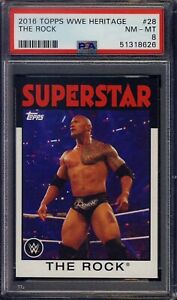 2016 Topps WWE Heritage #28 The Rock PSA 8 MINT Wrestling CAN & USA