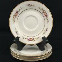 "Set of 4 Vintage Saucer Plates 6"" by Noritake Asian Song Pink Floral 7151 Japan"