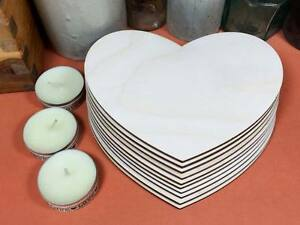 WOODEN VINTAGE HEARTS Shapes 15cm (x10) laser cut wood crafts blank shape