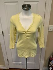 Charlotte Tarantola Anthropologie Yellow Rib Knit Henley Top, Size L