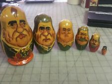 """Russian Wooden Nesting Dolls of Russian Leaders - 7"""" Tall - Largest has 2 sides"""