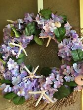 Spring Grapevine Front Door WREATH Silk Purple Hydrangeas Starfish Urchins