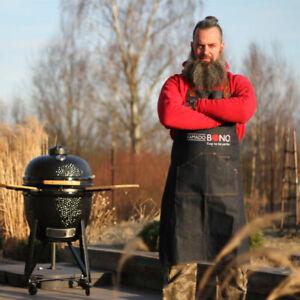 Kamado Bono Denim Apron Leather Uniform Strap Barista Baker Work BBQ Chef New