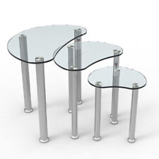 Modern Set of 3 Clear Tempered Glass Nested Tables With Stainless Steel Legs