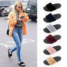 LADIES WOMENS SLIP ON FLUFFY FUR FLAT SLIPPERS SLIDERS FLIP FLOPS SHOES SIZES UK