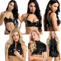 PVC Leather Women T-shirt Bustier Crop Top Tank Cami Bras Vests Blouse Clubwear