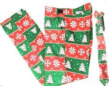 Suitmeister Boys Xlarge (14-16) Christmas Pants & Tie Red & Green Tree Snowflake