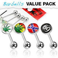 4 Pc Assorted Value Pack Logo Print Ball Surgical Steel Barbells Tongue Rings