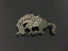 Vintage Sterling Silver Trotting Horse Marcasite Onyx Pin Brooch