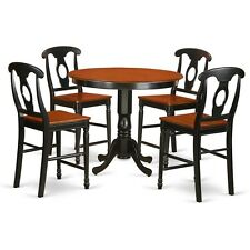 East West Furniture TRKE5-BLK-W High Top Table and 4 Kitchen Bar Stool NEW