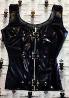 R0670 Latex Buckle Vest Top BLACK or RED SECONDS RRP £80.85 - £97.02