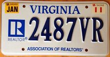 Virginia Realtor license plate For Sale Sell house Real estate property owner VA