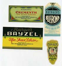 4 different Buerger's After Shave product labels