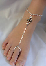 Silver Tone with * Octopus * Charm Slave Chain Anklet, Ankle Bracelet , Toe Ring