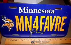 Minnesota Vikings Brett Favre NFL License Plate, last year in the league, unique
