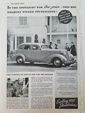 1937 Studebaker Car Marvel of Gas and Oil Savings Original Ad