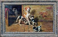 19th Century English Foxhound Dog Mother & Puppies  by John Emms (1844-1912)