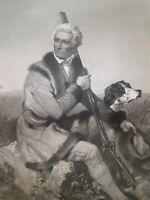 Antique 1862 DANIEL BOONE National Portrait Gallery Print Alonzo Chappel Pioneer