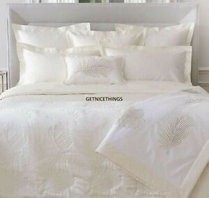 Yves Delorme France Palmbay 2 Euro Shams Ivory Jacquard Tropical Frond Sateen