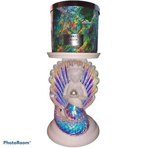 New Bath & Body Works Pearl MERMAID Shell PEDESTAL 3-Wick Candle Holder S/H Free
