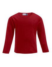 Vêtements T-shirt rouge manches longues pour fille de 2 à 16 ans en 100% coton
