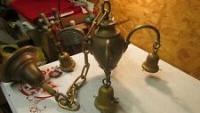 Antique 4 Arm Brass Ceiling Light Fixture & 4 Fancy Antique Shades