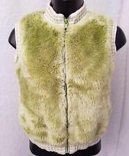 The Children's Place Girls Green White Faux Fur Zip Front Vest Jacket L 10 / 12