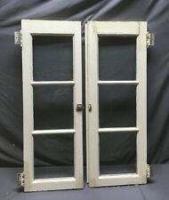 Pair Antique Window Cupboard Cabinet 3 Lite Door Vtg 13 x 37 179-19Lr