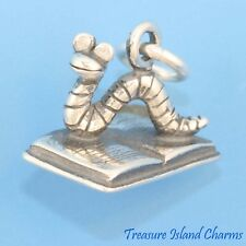 BOOKWORM SCHOOL READING 3D 925 Solid Sterling Silver Charm Book Worm MADE IN USA