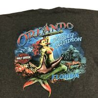 Harley Davidson T Shirt Adult XL Gray Orlando Florida Motorcycles Mermaid USA
