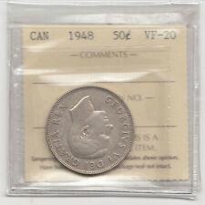 1948 Canadian Silver Half Dollar, ICCS, KEY DATE, King George VI, VF20