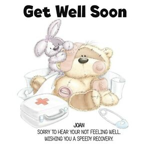 PERSONALISED GET WELL CARD-FIZZY MOON FIRST AID BOX - SPEEDY RECOVERY - ADD NAME
