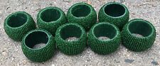 Set Of 8 Green Beaded Napkin Rings Holders