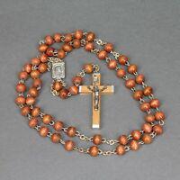 chapelet ancien fait de perles rondes en bois clair