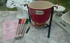 Le Creuset Enzo Mari La Mama Red Fondue Pot, Stand, Burner and Forks - Unused