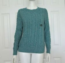LL Bean Size M Petite Blue Cotton Crew Neck Cable Knit Long Sleeve Sweater