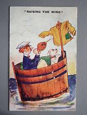 R&L Postcard: Photochrom, 1924, Sailor & Dog in Barrel Boat, Raising the Wind