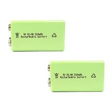 2 pcs 9V 9.0V Volt 500mAh Ni-MH rechargeable battery PP3 block Green US Stock