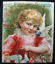 Very Old 1894 Perfumed Calendar Card By W. Hoyt & Co of Lowell MA