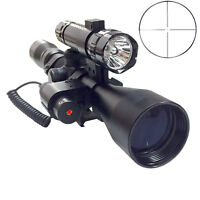 Tactical 3-9X40 Optics Hunting Rifle Scope Red Laser & Torch & FlashLight
