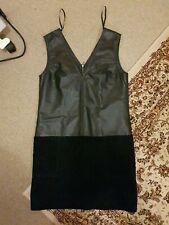 Mango Black Leather & Suede Sexy Shift Dress Size Medium/8-10