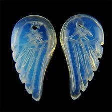 2pcs Charming Carved Wing Opal Opalite Pendant Bead M-DJM138RL