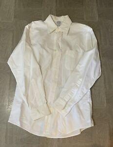 Brooks Brothers 346 Mens Dress Shirt 15 1/2- 3/4 32-33 White Cotton Non-Iron
