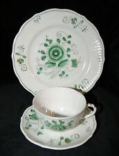 August Warnecke Porzellan Nikko grün Handmalerei 3 tlg Tee Gedeck Vintage