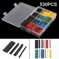 530 Pcs Assorted 2:1 Heat Shrink Tubing Tube Cable Sleeving Wrap Wire Kit 8 SIZE