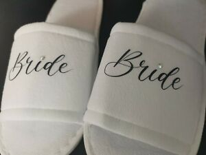 Personalised Spa Slippers With Diamonte Detail Wedding Birthday Special Occasion
