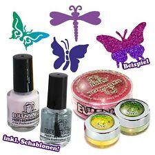 Glittert-Tattooset Butterfly, mit Schablonen, Glitzer, Hautkleber u. mehr