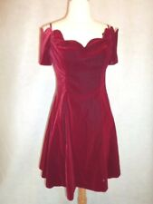 1980's VINTAGE Prom Party VELVET Holiday Mini Dress Scallop Off Shoulder S/M